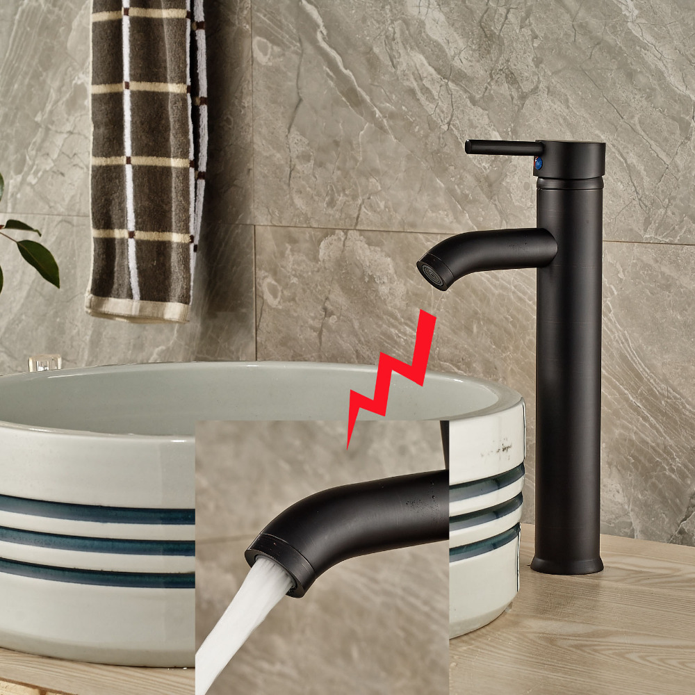 Oil Rubbed Bronze Tall Bathroom Basin Faucet Countertop Vanity Sink Mixer Tap modern countertop waterfall bathroom basin sink faucet filler oil rubbed bronze mixer taps