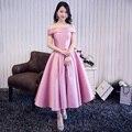 Nueva llegada elegante prom party dress A-line vestidos Vestido de Festa vestido de té de longitud satinado envío gratis