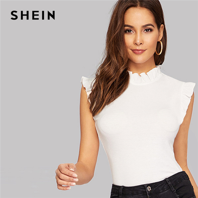 SHEIN Frilled Trim Keyhole Back Slim Fitted Tee Sleeveless T-shirt Women Summer Elegant Solid Stand Collar Tshirt Tops 1