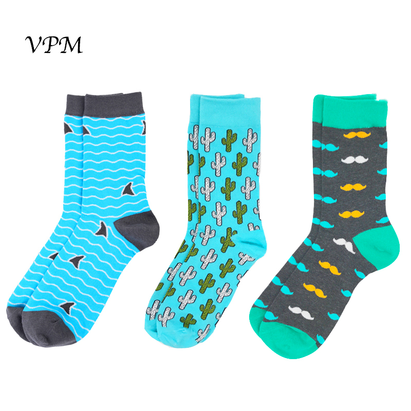 VPM 3 Pairs/Lot Men Brand Wedding Gift Bright Colorful Long Barbary Big Socks Cactus Beard Shark Cotton Happy Socks for Men