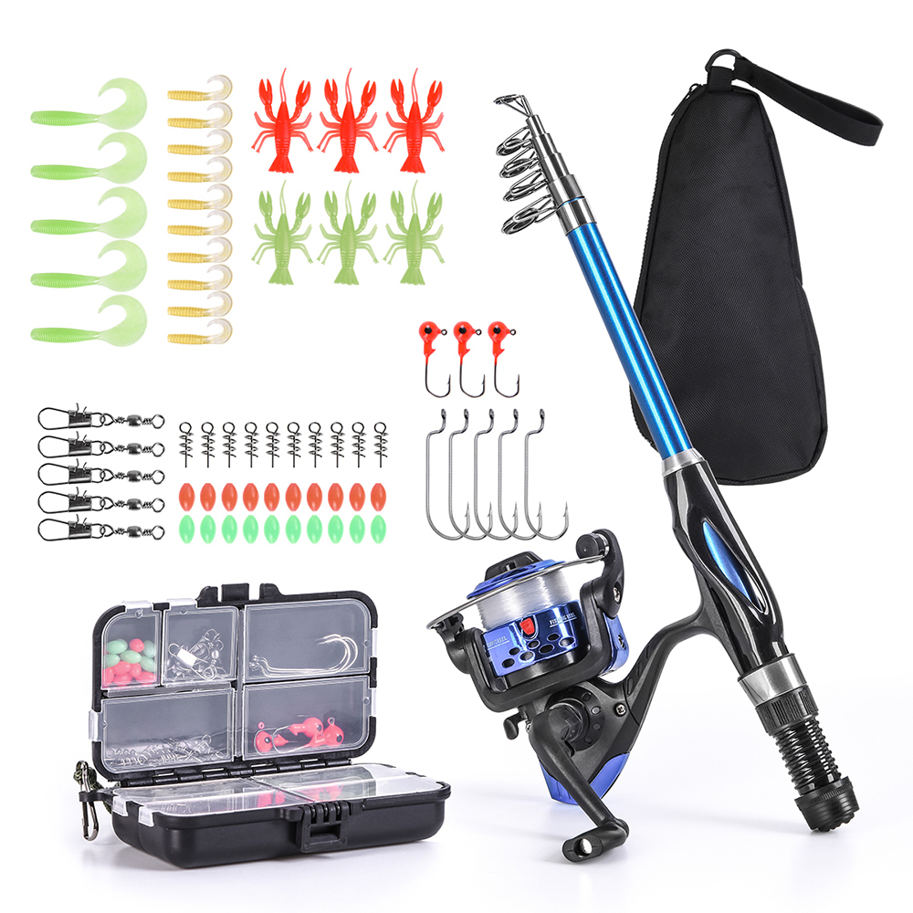 Blusea Fishing Rod Reel Combo Full Kit 1.3m Telescopic Fishing Rod Spinning Reel Set with Hooks Lures Barrel Swivels Storage Bag-in Fishing Rods from Sports & Entertainment on Aliexpress.com | Alibaba Group