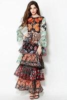2016 New Fashion Lady Flare Sleeve Printing Long Dress Long Woman Layered Skirts S XL Size