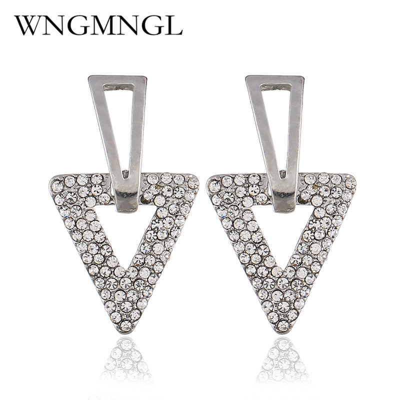 WNGMNGL Fashion Gold Sliver Color Earrings Classic Simple Triangle Alloy luxurious Crystal Stud Earrings for Women Jewelry Gift in Stud Earrings from Jewelry Accessories
