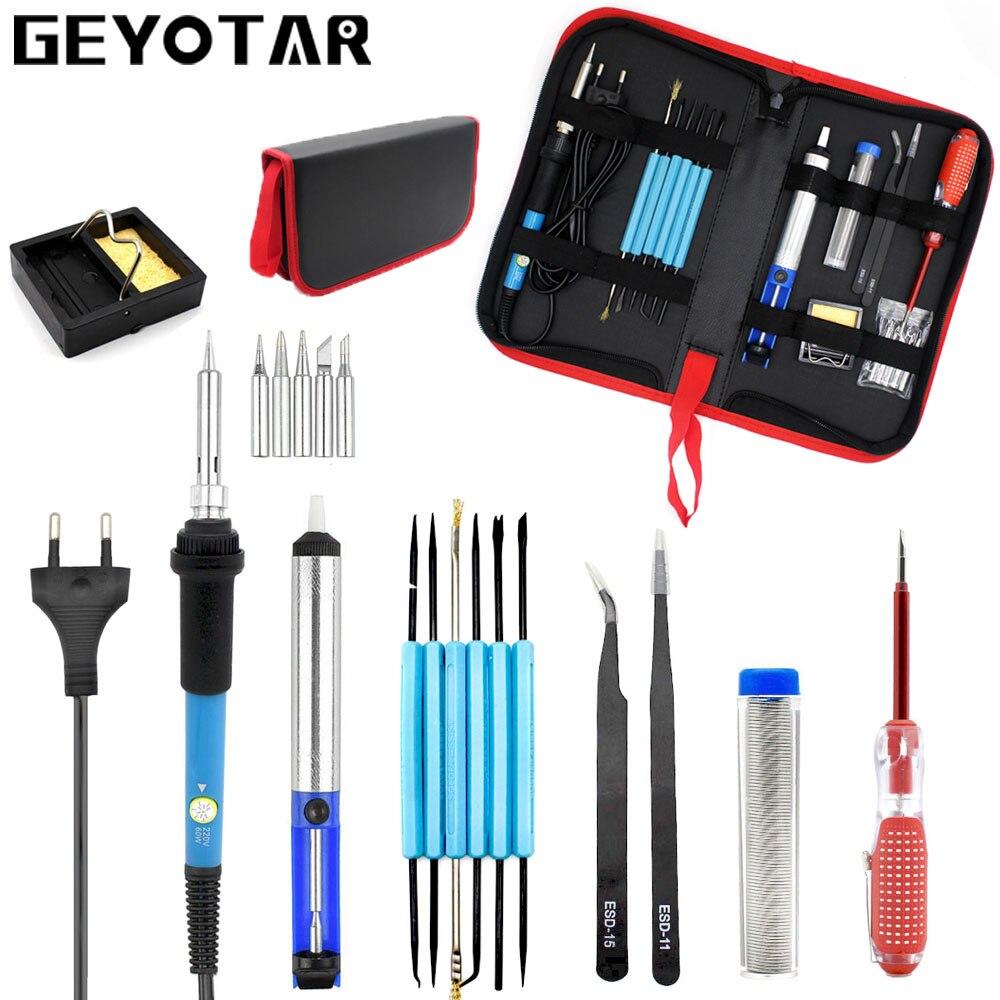 Eu Plug 220 V 60 W Verstelbare Temperatuur Elektrische Soldeerbout Kit + 5 Stks Tips Draagbare Lassen Reparatie Tool Pincet Soldeer