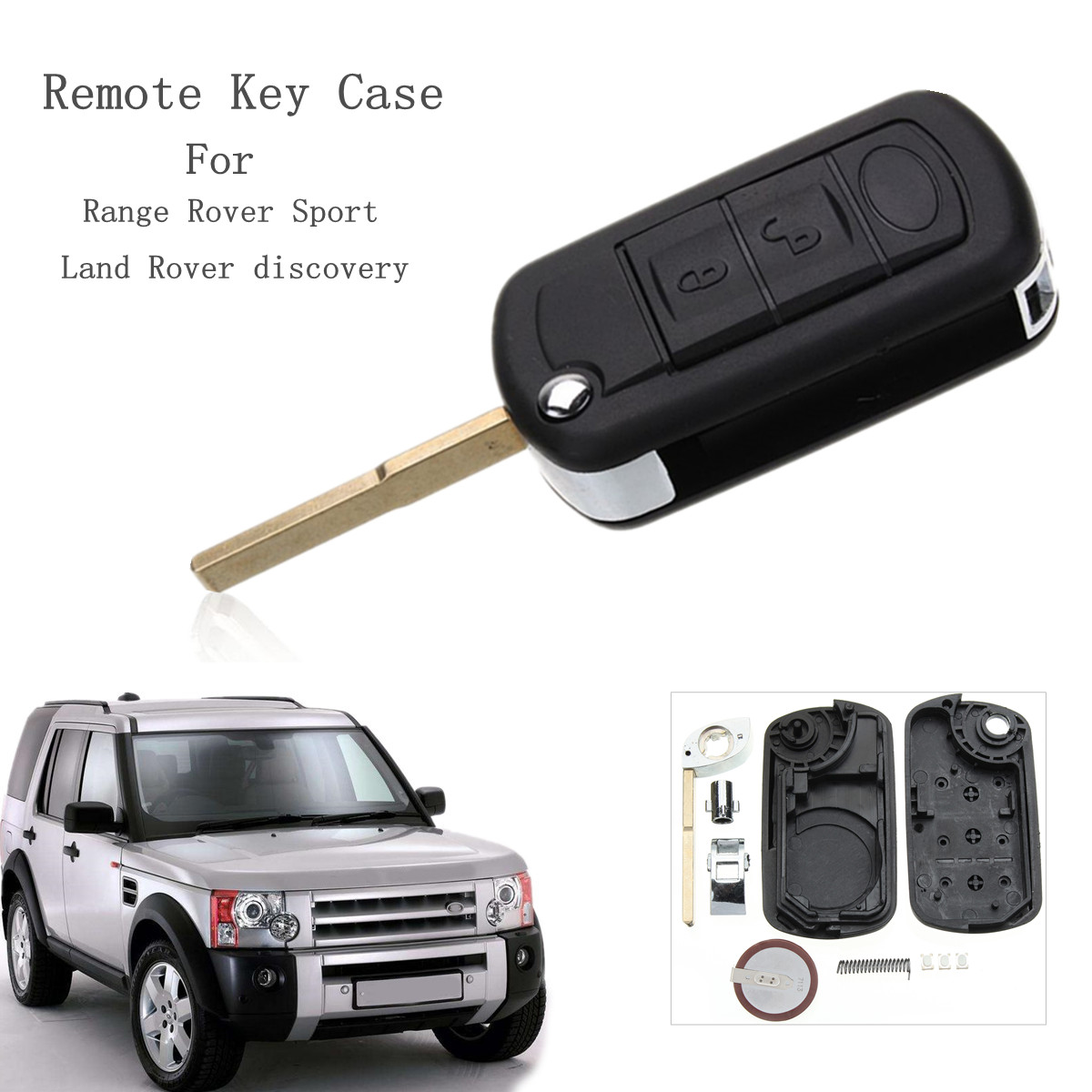 3 Buttons Car Remote Key Fob Case Shell With VL2330 Battery For Land Rover Discovery Range Rover Sport