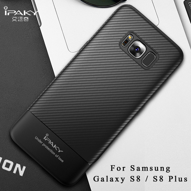 separation shoes 5b659 c0d6e For samsung galaxy s8 plus case ipaky coque For samsung s8 plus case Silm  Carbon Fiber skin Silicone Cover For galaxy s8 cases