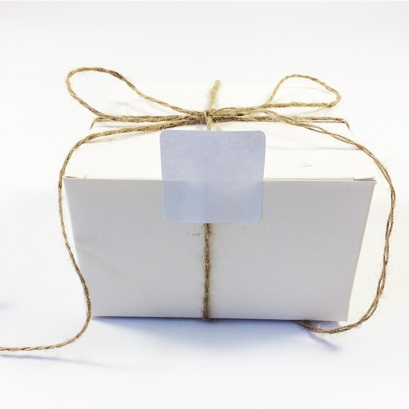 Купить с кэшбэком 100PCS   New White colour Square design kraft Blank Sealing sticker  DIY gift package label paper stickers