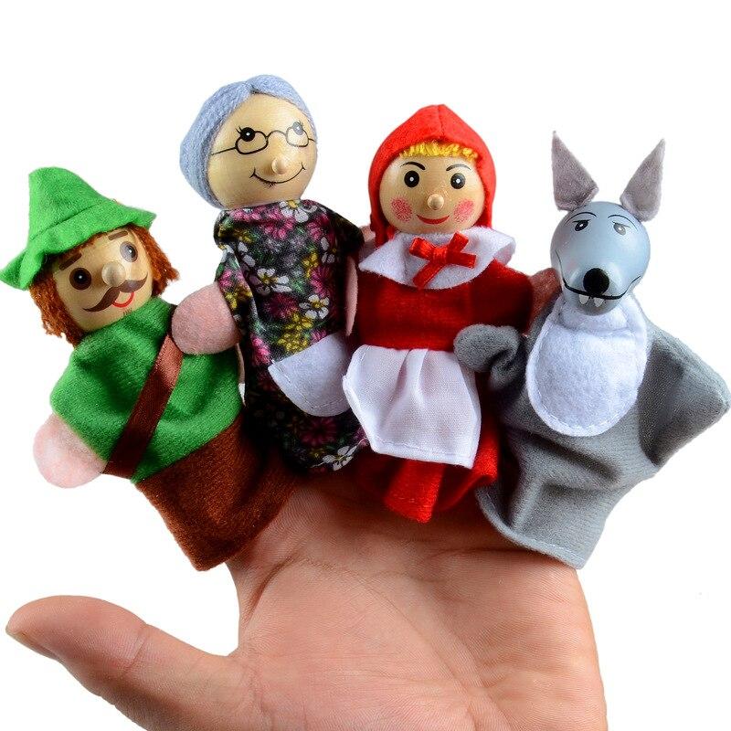 Finger Puppet Theater Finger Plush Stuffed Toy Children Education Little Red Riding Hood Story Plush Doll Finger Puppet Kid Doll