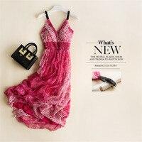 Bohemian beach dress summer new authentic silk printed dress silk dress