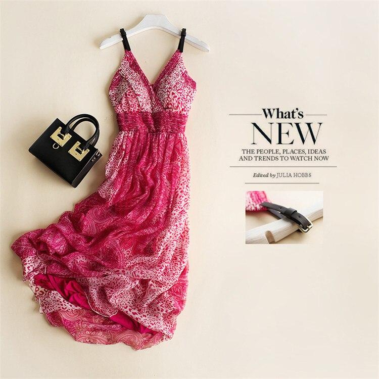 Robe de plage bohème été nouvelle robe en soie imprimée authentique robe en soie