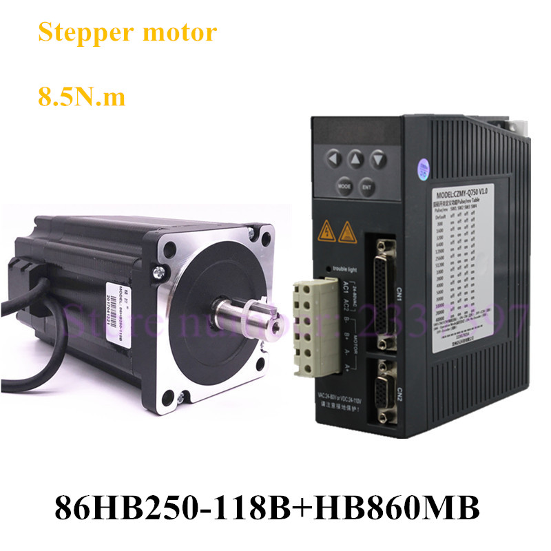 NEMA34 Closed loop stepper motor and Driver 8.5NM 86mm Hybird 2 Phase 86HB250-118B Closed-loop Step Motor + HB860MB Motor Driver 2 phase 8 5n m closed loop stepper servo motor driver kit 86j18118ec 1000 2hss86h cnc machine motor driver