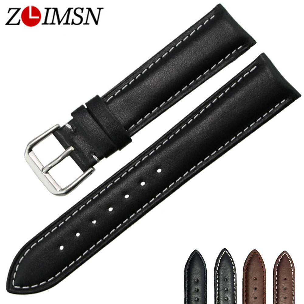 ZLIMSN Genuine Leather Watch Band 18 20 22 24mm Watchbands Bracelet Wristband Men s Women s
