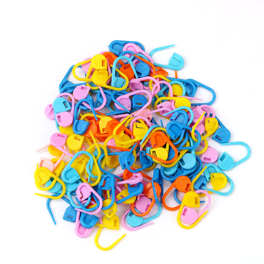 Knitting 100pcs Knitting Mix Color Craft Crochet Locking Stitch Needle Clip Knitted Toys Herramienta De Tejer