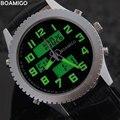 BOAMIGO hombres casual relojes de cuarzo deporte militar relojes de los hombres de la marca banda de cuero relojes de pulsera 30 M impermeable relogio masculino