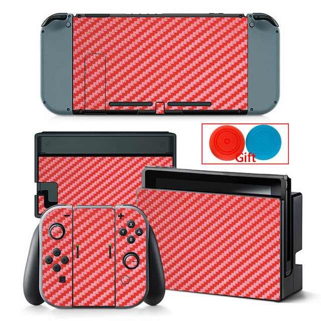 Carbon Fiber Sticker For Nintendo Switch Protection Skin Console Protector Stickers + 2pcs Silicone Protection Caps 4