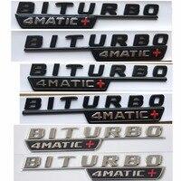 크롬 블랙 문자 적십자 BITURBO 4MATIC + 펜더 배지 엠블럼 엠블럼 배지 메르세데스 벤츠 AMG W205 W213 X253 W166 C292