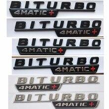 Chrome Black Letters Red Cross BITURBO 4MATIC+ Fender Badge Emblem Emblems Badges for Mercedes Benz AMG W205 W213 X253 W166 C292