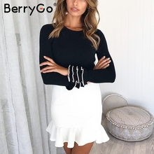 BerryGo Elegant ruffles knitted winter sweater 2018 pull femme Women casual  pullover Autumn ladies sweaters slim female jumpers