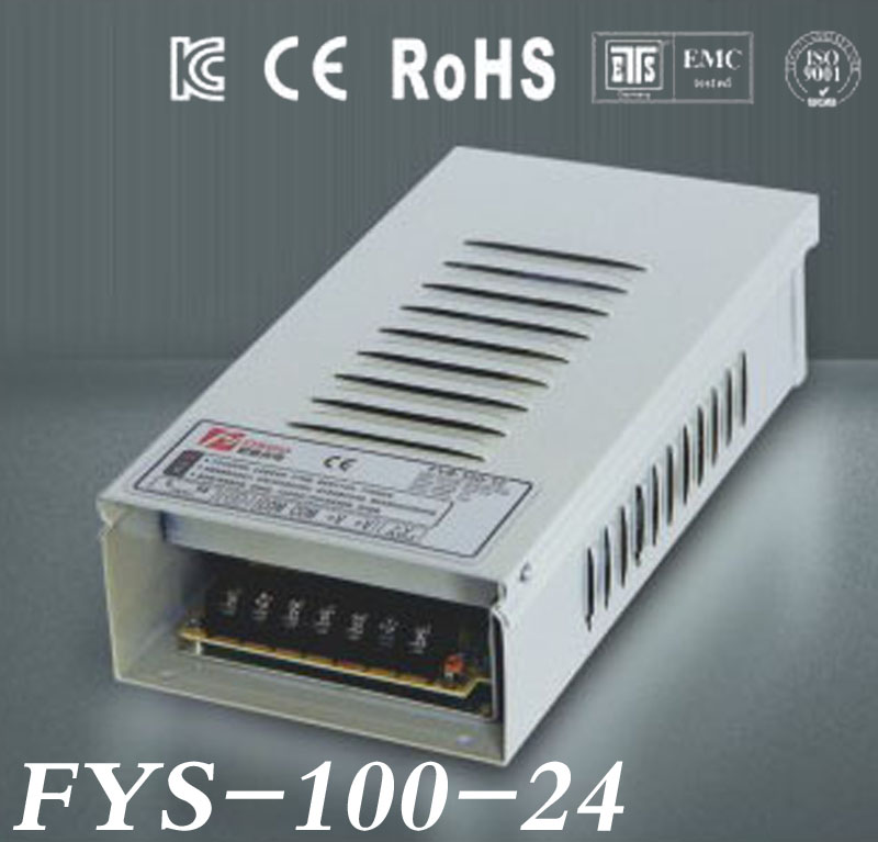 Free Shipping Rain-proof switch Power Supply Driver 24V 4.2A 100W AC110/220V Input CE&RoHS Certified outdoor use (FYS-100-24)