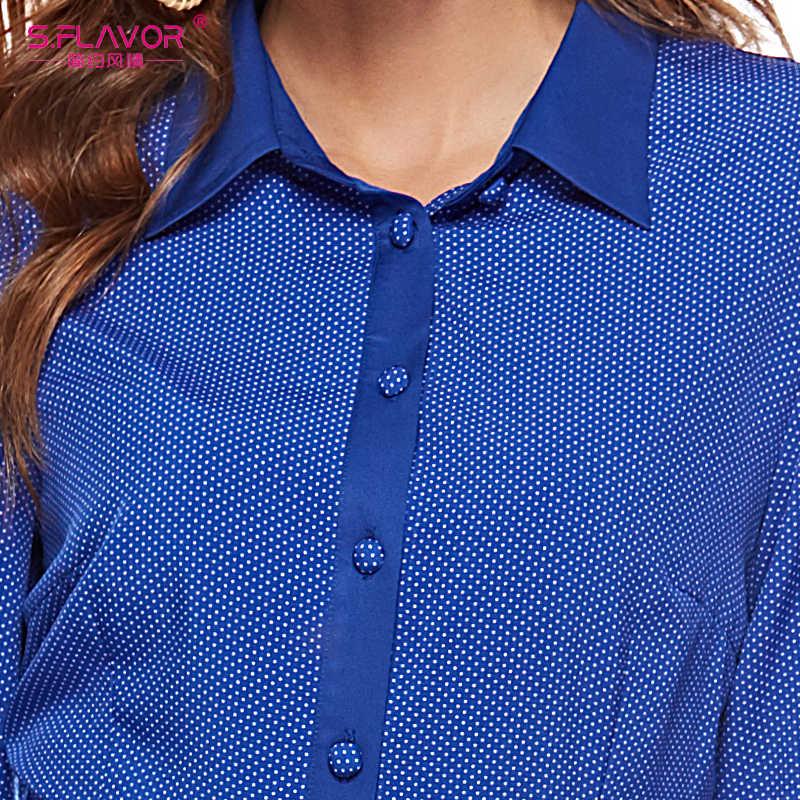 S. FLAVOR/женские длинные платья в горошек синего цвета, элегантные Повседневные Вечерние платья с длинными рукавами и отложным воротником, весенние платья
