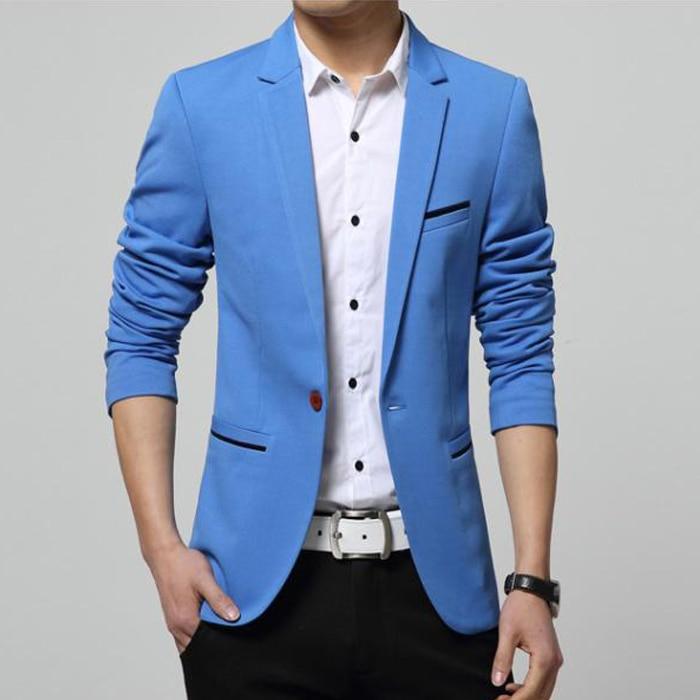 Mens Korean Slim Fit Fashion Cotton Blazer Suit Jacket Black Blue Beige Plus Size M To 6XL Male Blazers Mens Coat Wedding Dress