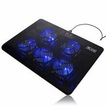 Blue LED Light 5 Fan Cooling Pad Cooler DC 5V Laptop Cooling Pad Fan 17 inch USB Port Cooling Stand Cooler For Notebook