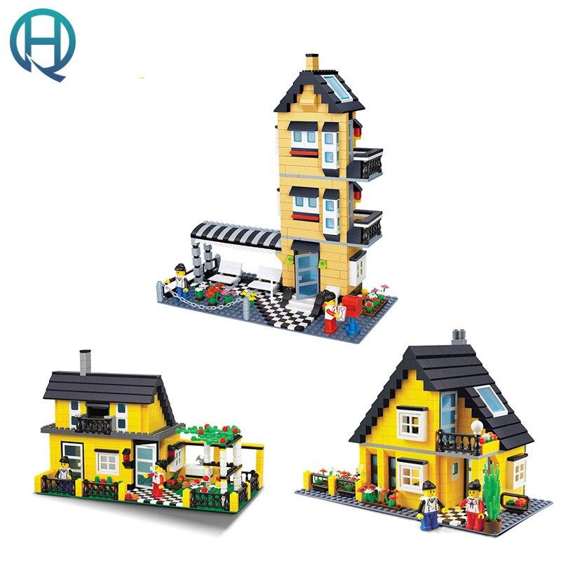 Wange City Series Ordinary Villa Garden DIY Model Building Blocks Bricks Sets Educational Birthday Gift Toy for Children Kids