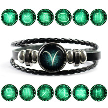 Hot Sale Trendy 12 Constellation Bracelet Men Leather Charm Bracelets For Women Girl Jewelry Accessories Gifts