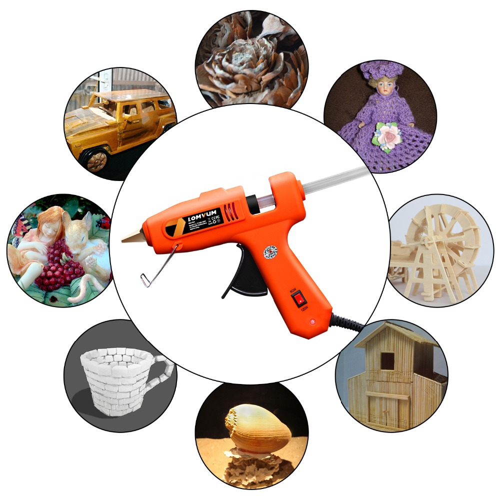 Image 4 - LOMVUM NEW Color Professional High Temp Hot Melt Glue Gun 30W Graft Repair Heat Gun Pneumatic DIY Tools With Free Glue Sticks-in Glue Guns from Tools on