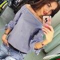 2017 Resorte de Las Mujeres Del Hombro Sexy Blusa de Rayas de Cuello Slash Arco de Manga larga Casual Tops Camisetas de Las Señoras Suelta más Blusas