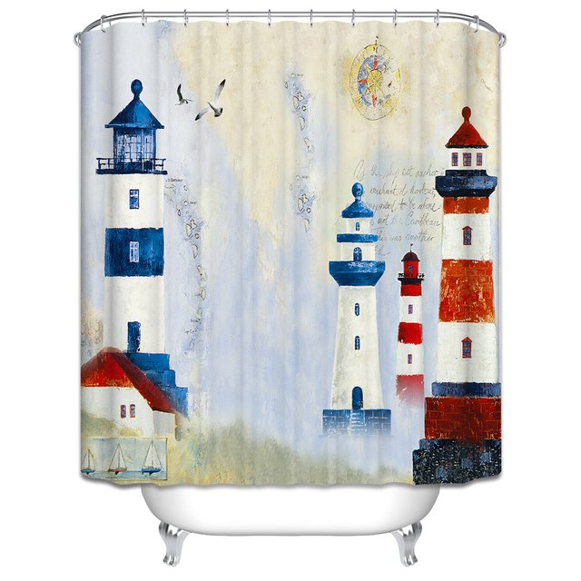 CHARMHOME Best Sale Lighthouse Shower Curtain Oil Painting Print ...