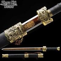 Новый Китай античный меч все ручной работы 1095 стали с золотым покрытием tsubacharacteristics из Технология Ebony украшения дома продукты