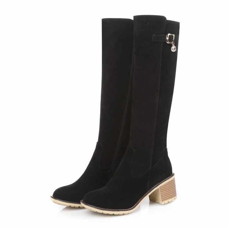 Botas Mujer apresurado 2017 talla grande 34-43 Botas hasta la rodilla Sexy tacones gruesos punta redonda primavera otoño zapatos menos plataforma C9-3