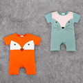Baby high quality Cotton rompers Baby cartoon Clothing Cute Fox Baby summer Clothes short sleeve baby romper 2 colors