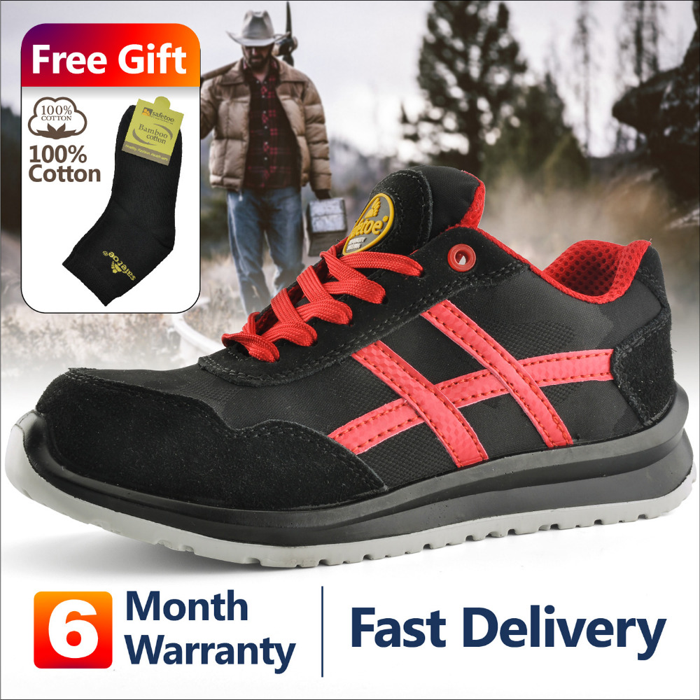 c697cbf95d38 Detail Feedback Questions about Safetoe Sports Work safety Shoes for Men Safety  Shoes With Steel toe Cap Summer Leather Black Red leather safety shoes US 4  ...