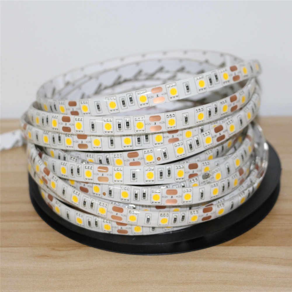 DC12V 1/2/3/4/5 M 5050 Flexible LED bande lumineuse 60 LED s/m étanche/Non-étanche décor à la maison LED RibbonTape blanc/blanc chaud