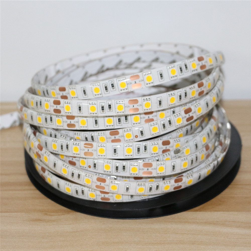 DC12V 1/2/3/4/5M 5050 Flexible LED Strip Light 60leds/m Waterproof / Non-waterproof Home Decor Led RibbonTape White / Warm White