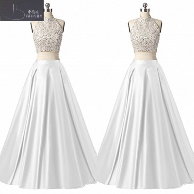 Classic 2017 2 Piece Wedding Dresses Halter Neck Beaded