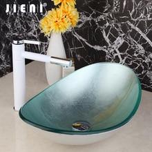 JEINI стеклянная раковина для ванной комнаты, ручная роспись, чаша для раковины, санузел, смеситель, латунь, белая живопись, поворотный носик, кран, смеситель