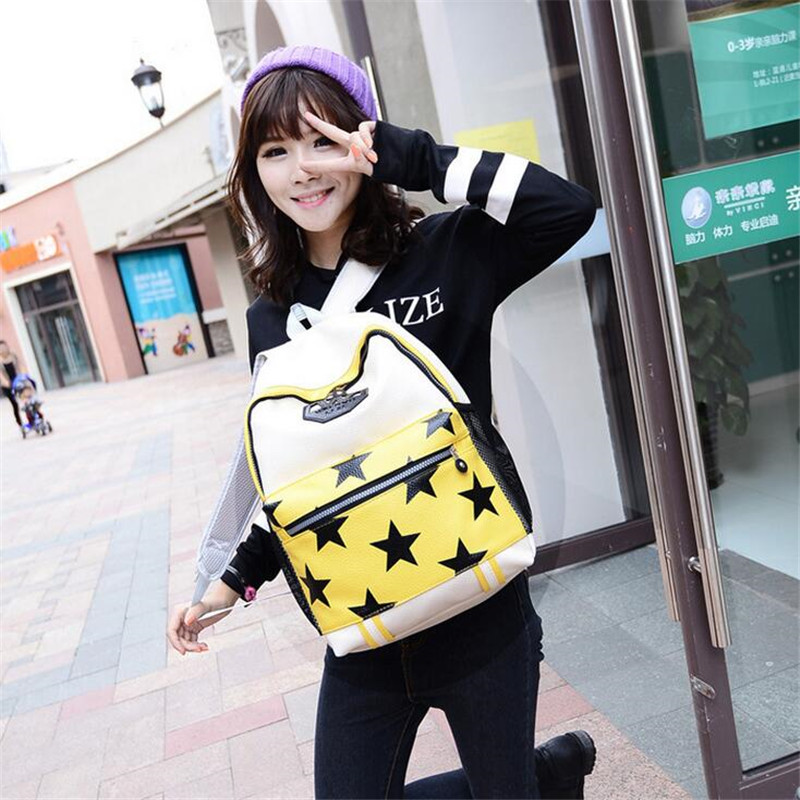 2016 New Women s Fashion Backpacks School Bags for Teenagers PU Solid Backpack Famous Brands Leather