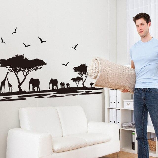 Diy afrikaanse dieren muursticker interieur zwart olifant vinilos ...