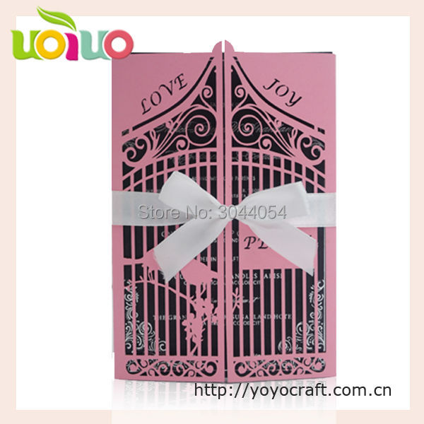 Customize traditional chinese wedding invitation card laser cut love