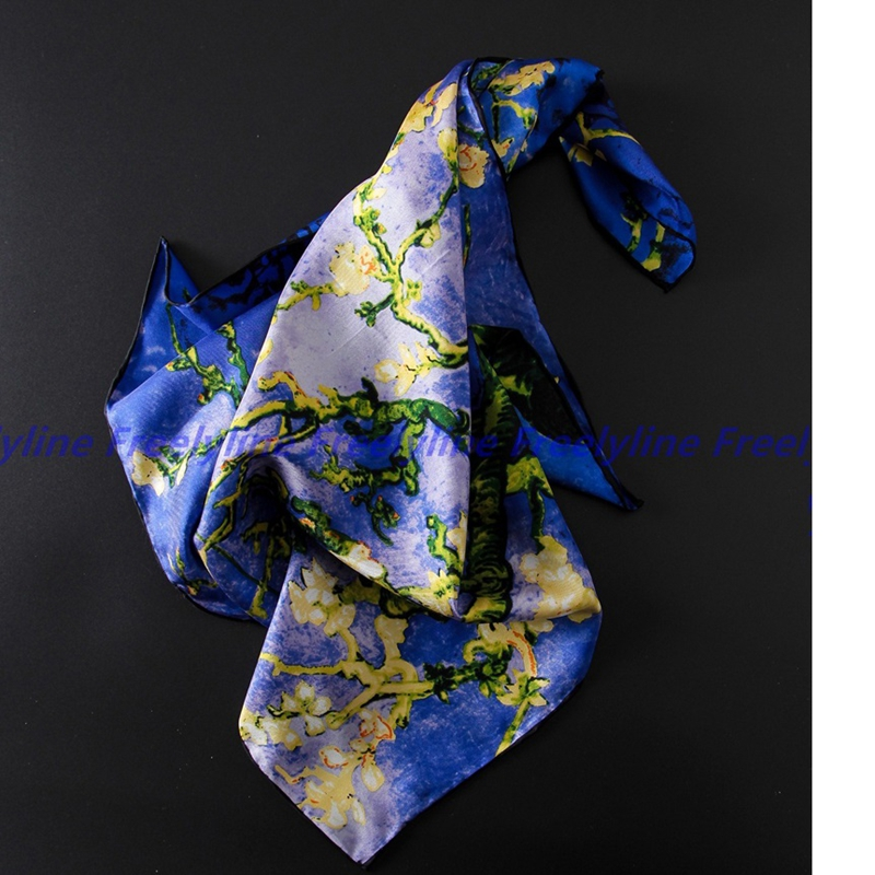 Oil Painting Head   Scarf   For Hair Wrapping 100% Silk Bandana Neckerchief Women Small Square Silk   Scarves     Wraps   Hand Roll 53x53cm