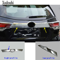 For Toyota Highlander 2018 2019 car ABS chrome Rear door License tailgate bumper frame plate trim trunk moulding hoods 1pcs