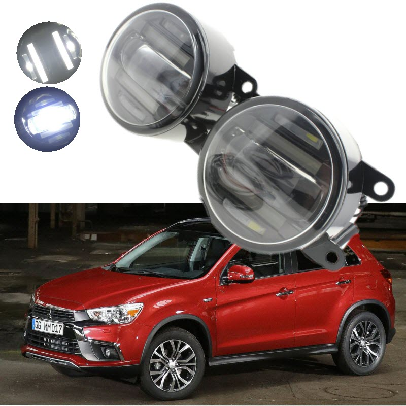 For Mitsubishi ASX 2013-2016 2in1 18W 1800LM LED Fog Lights White Cut-Line Lens DRL Daytime Running Lights Car-Styling решетка радиатора mitsubishi asx 2 шт 2010 2013