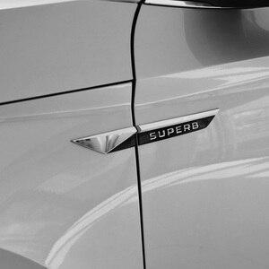 Image 3 - Car Original Side Wing Fender Door Emblem Badge Sticker Trim For Skoda Superb 2015 2016 2017 2018 2019 Car Styling