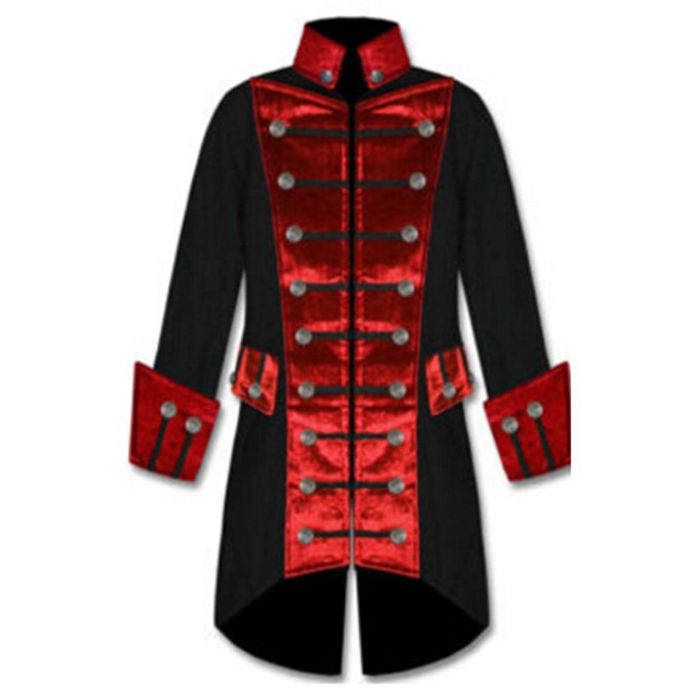 100% Vero Stile Gotico Uomini Giubbotti Steampunk Dell'annata Della Rappezzatura Di Colore A Maniche Lunghe Giubbotti Miscela Del Cotone Cappotto Costume Uniforme Di Cosplay