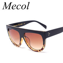 Mecol Fashion Sunglasses Women Brand Design Gradient Sun Glasses Female Rivet Shades Flat Oversize Shades Sunglass UV400 M100