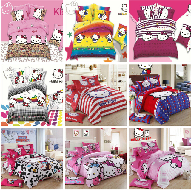 New Leopard Print Pink Color Hello Kitty 4pc Bedding Set Girls