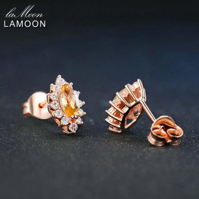 LAMOON Marquise 3x6mm 1.4ct 100% Natural Citrine 925 sterling-silver-jewelry  Stud Earring S925 LMEI049